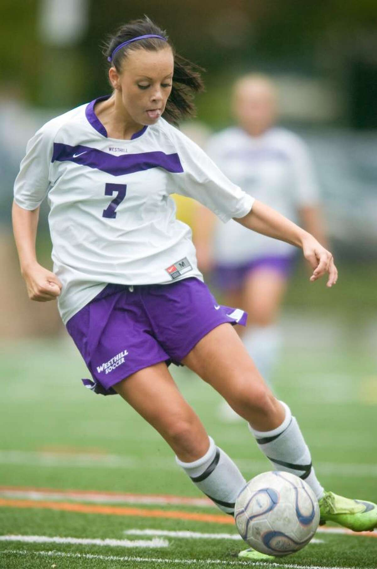 Westhill's Penny Cote during an FCIAC girls soccer match against Danbury High School at Westhill High School in Stamford on Wednesday, Sept. 30, 2009.