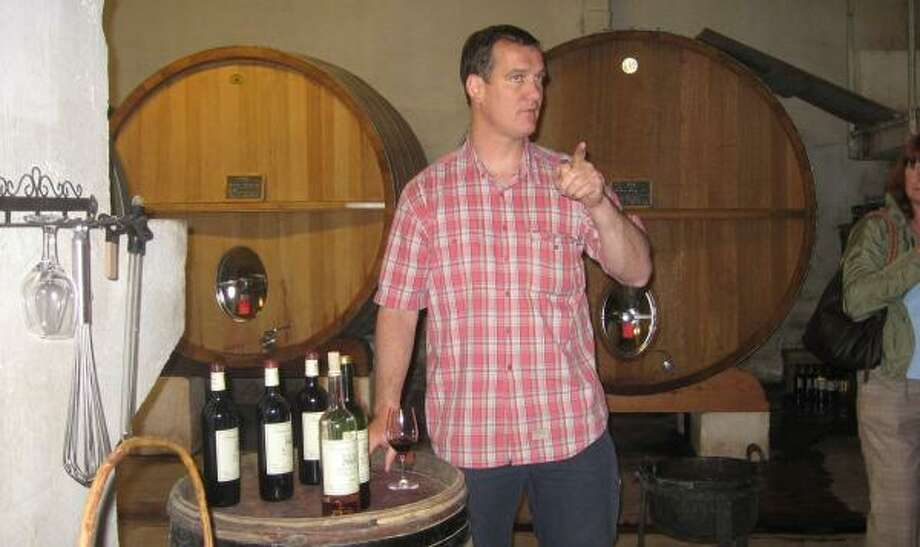 Daniel Ravier, manager of Domaine Tempier in the Bandol region of southern France, recently gave a tour and tasting to two groups of Americans, one from the Northeast and one from Houston, including Kyle Britt of Prestige Wine Cellars. Photo: ROBIN BRITT