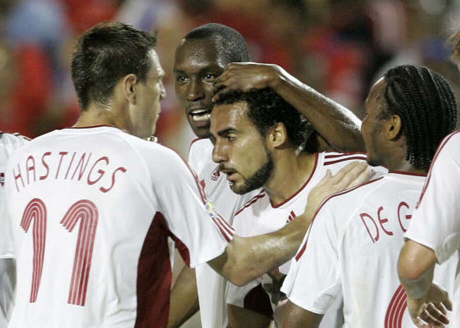 Dynamo star Dwayne DeRosario scored two times against Haiti on Monday. Photo: Alan Diaz, AP