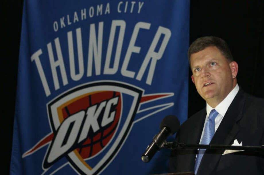 Clay Bennett, chairman of the new Oklahoma City NBA franchise, unveils the team's name and colors Wednesday. Photo: AP