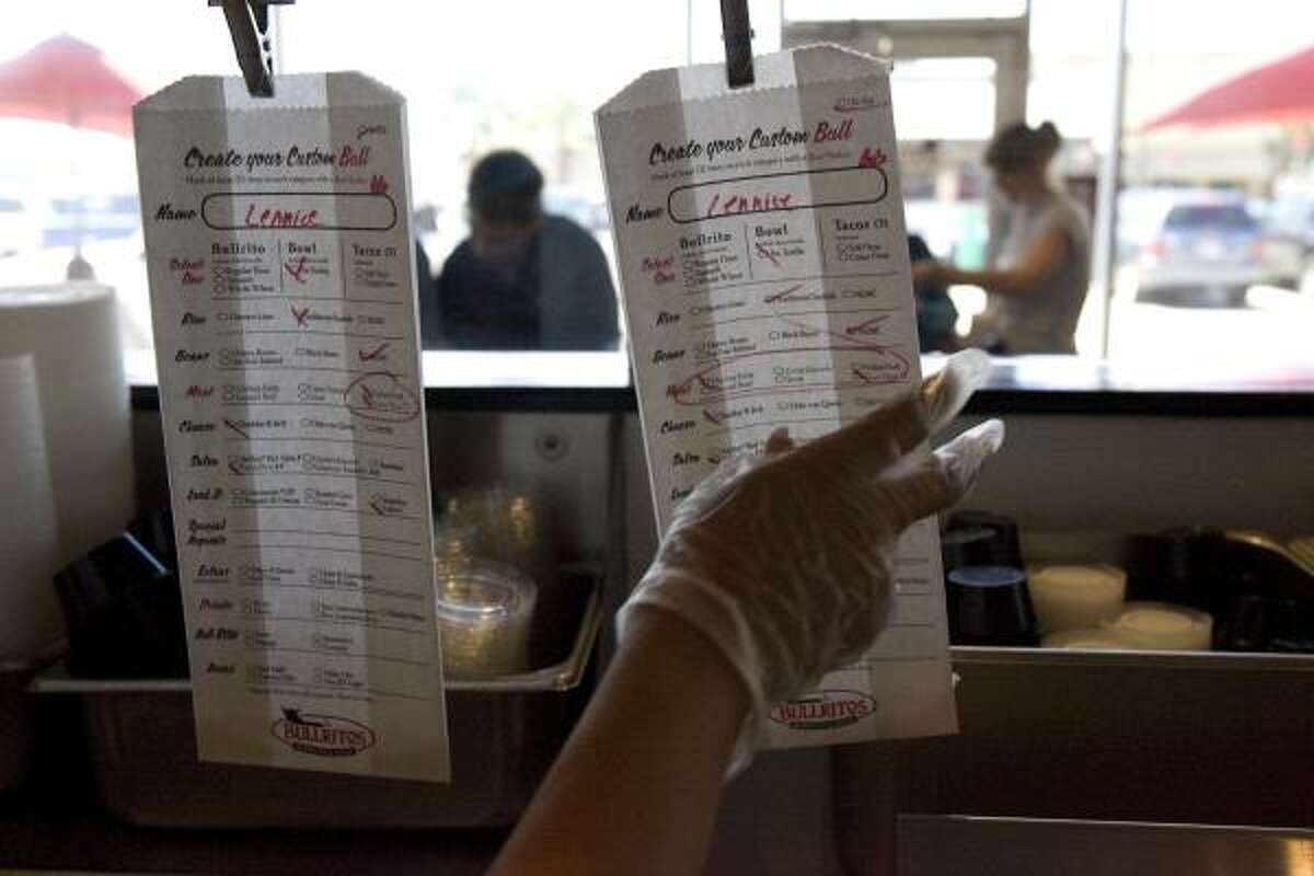 Customers at Bullritos mark the ingredients they'd like in their burritos.