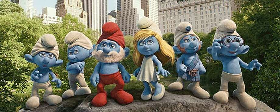 "Clumsy, Grouchy, Papa, Smufette, Gutsy and Brainy Smurf land in Central Park in ""The Smurfs."" SONY PICTURES ANIMATION"