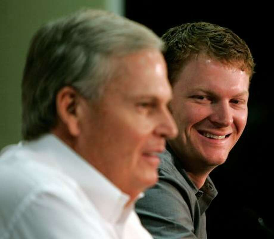 Rick Hendrick (left), owner of Hendrick Motorsports, says he wants Dale Earnhardt Jr. to be his self when the driver reports to his new team next season. Photo: GRANT HALVERSON, GETTY IMAGES