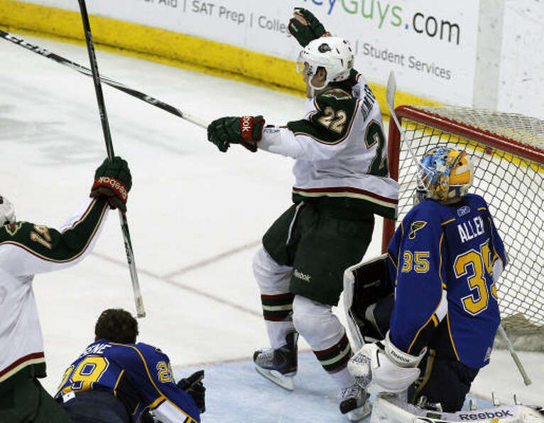 Aeros right wing Jed Ortmeyer (22) celebrates after he scored a goal in the second period.