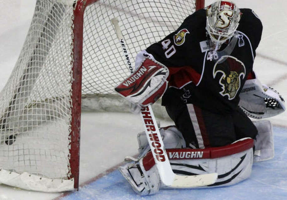 Senators goalie Robin Lehner misses a second goal from Aeros right wing Jed Ortmeyer in the third period. Photo: Cody Duty, Chronicle