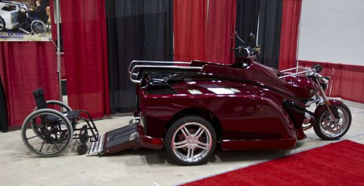A Mobility Conquest wheelchair motorcycle on display during the South Texas Biker Jam & Expo at Reliant Arena.