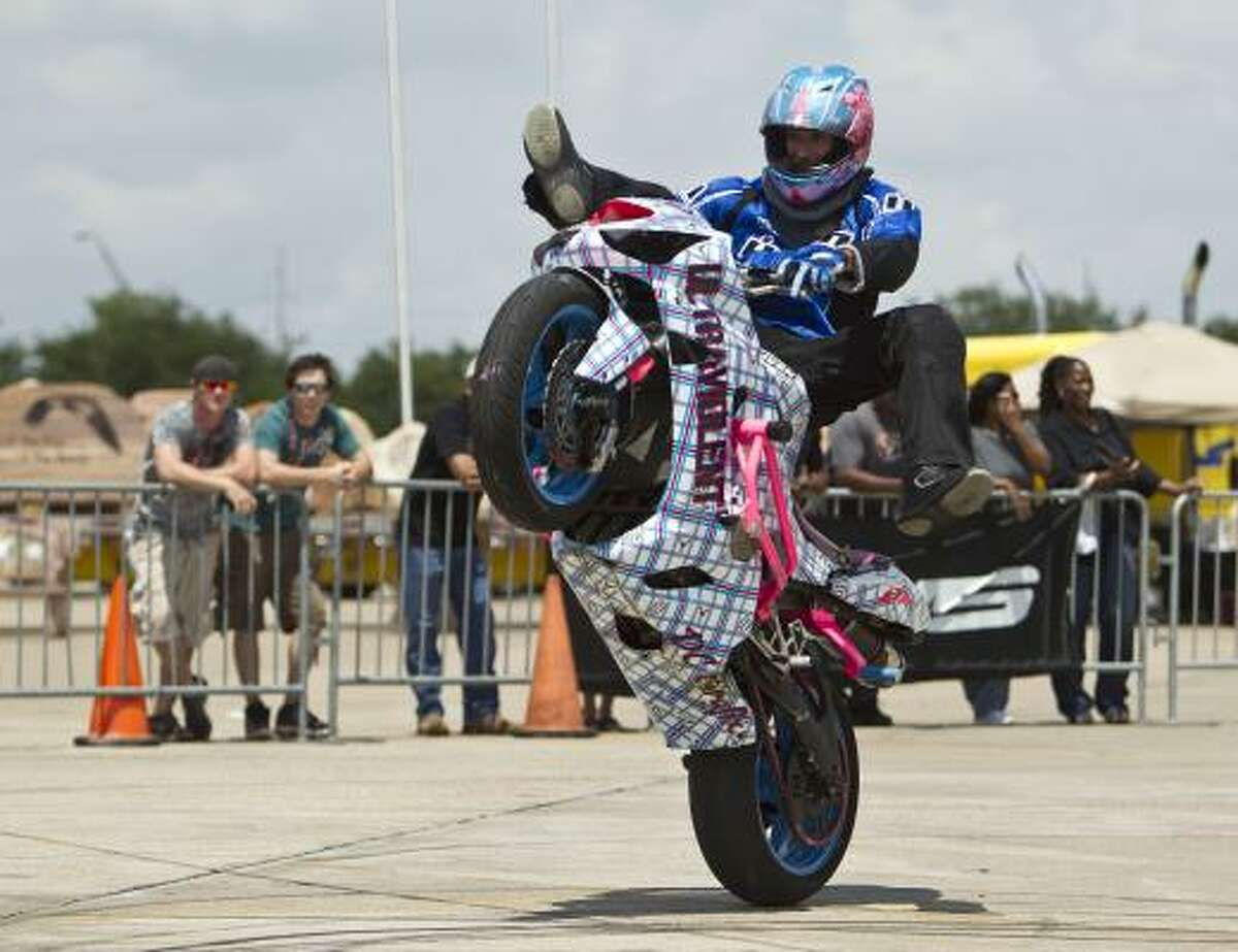 Jacob Kirin with Seventh Letter Entertainment performs in the Freestyle Stunt Show during the South Texas Biker Jam & Expo at Reliant Arena in Houston.