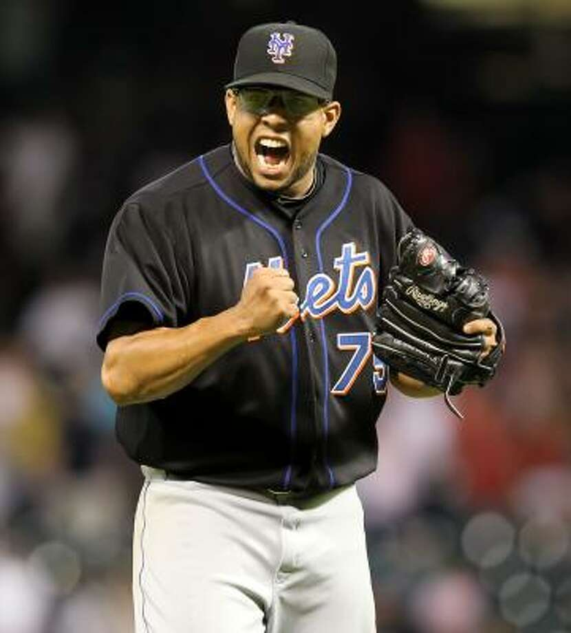 Mets closer Francisco Rodriguez celebrates after recording the final three outs. Photo: George Bridges, McClatchy-Tribune News Service
