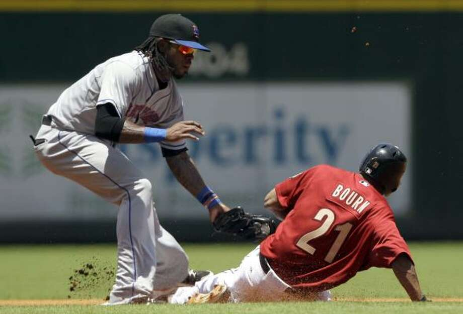 May 15: Mets 7, Astros 4Astros center fielder Michael Bourn fails in his attempt to steal second as Mets shortstop Jose Reyes applies the tag in the first inning. Photo: David J. Phillip, Associated Press