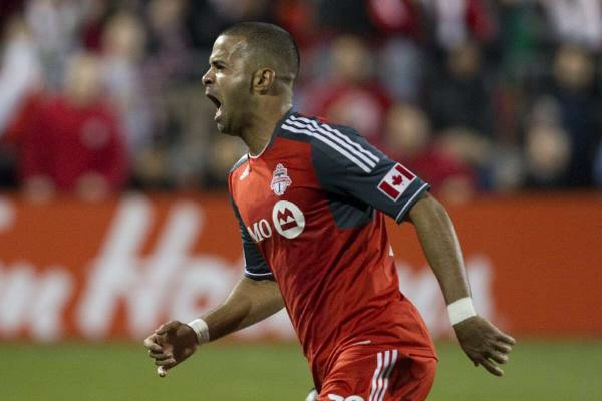 Toronto FC 's Maicon Santos celebrates after scoring his team's second goal during the second half.