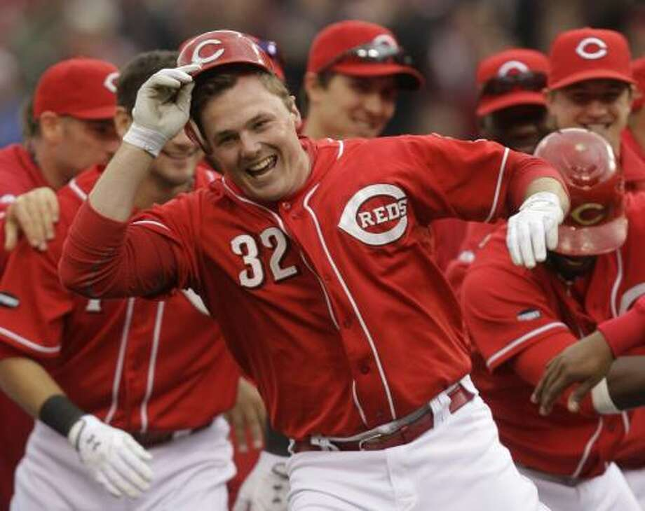 May 4: Reds 3, Astros 2Reds outfielder and Beaumont native Jay Bruce celebrates with teammates after driving in the the game-winning run in the ninth inning. Photo: Al Behrman, Associated Press
