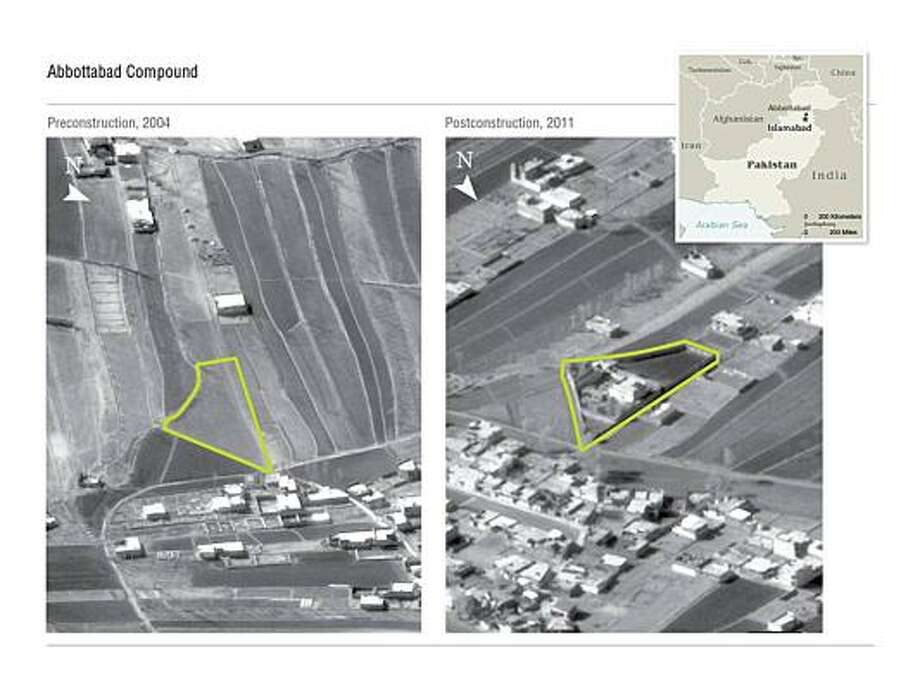 This aerial photo released by the Pentagon, Department of Defense (DoD) shows pre and post contraction of the compound in Abbottbad, Pakistaan where a US military operation was conducted and Al-Qaeda mastermind Osama bin Laden was killed on May 1. Photo: HO, Getty