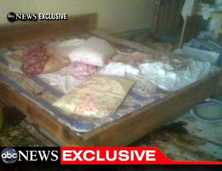 This video frame grab obtained from ABC News shows the interior bedroom in the mansion where Osama B