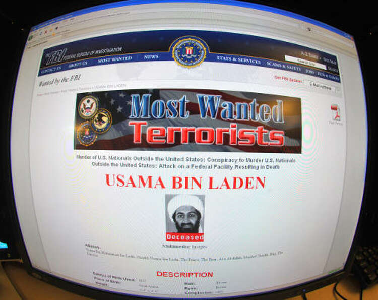This May 2 photo shows the FBI website announcing the death of Osama Bin Laden.