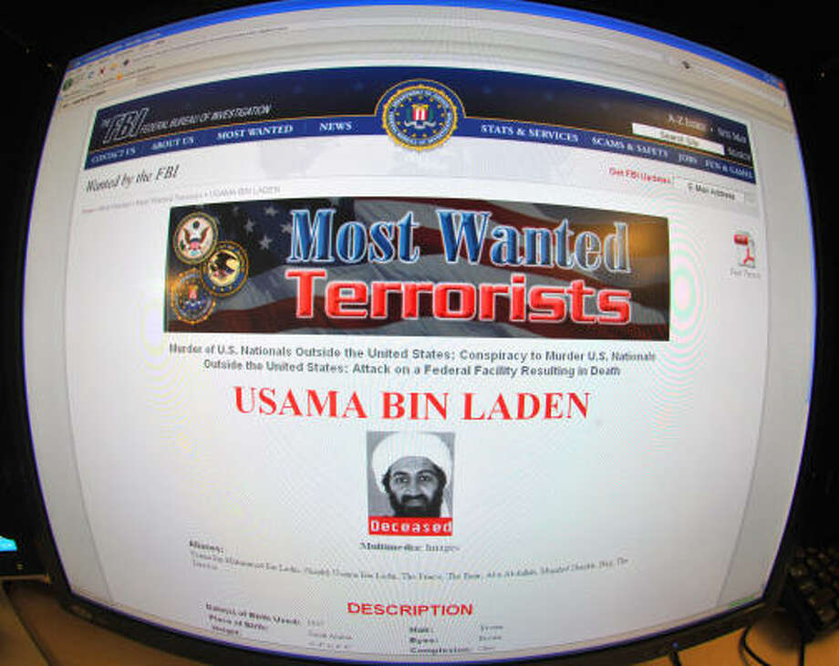 This May 2 photo shows the FBI website announcing the death of Osama Bin Laden. Photo: KAREN BLEIER, Getty