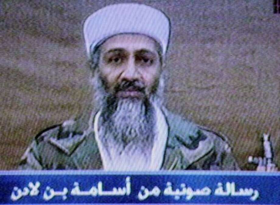 "Picture made off TV screen in Riyadh, Saudi Arabia, Sunday night Oct. 6, 2002 shows an Al Jazeera satellite channel broadcast which included an audiotape in which a male voice attributed to Osama bin Laden said the ""youths of God'' are planning more attacks against the United States. Photo: Hasan Jamali, AP"