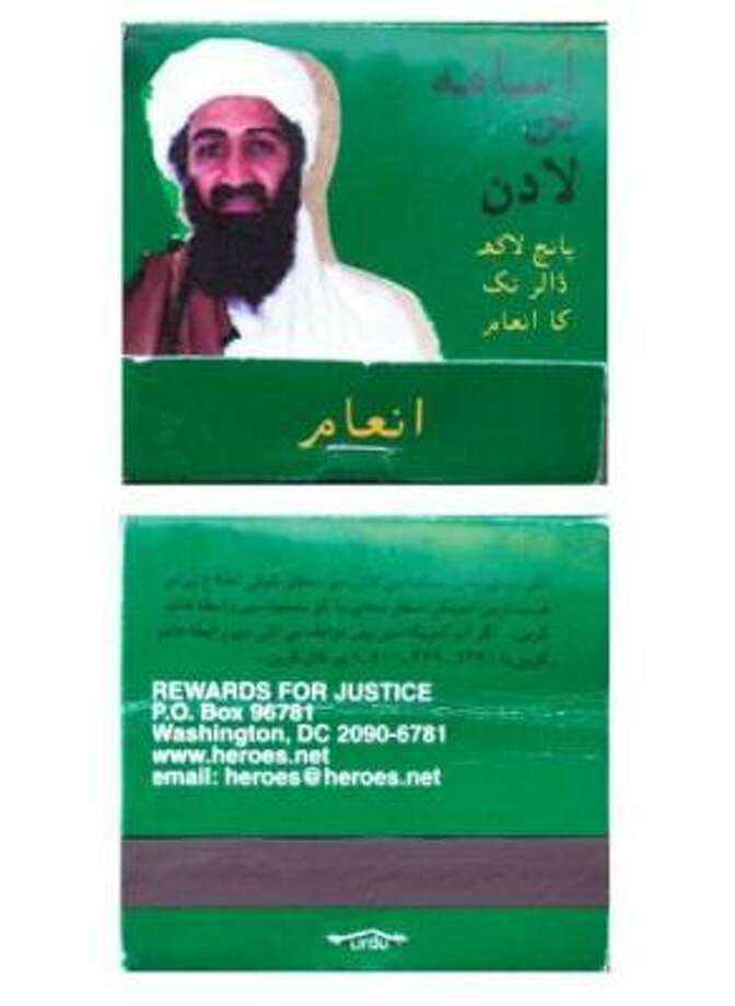 A match box shows the picture of suspected terrorist Osama bin Laden (above) and an address for providing information about him, 18 February 2000. Match boxes and currency notes offering a reward of five million dollars for information about the suspected terrorist, started appearing in Pakistan. Photo: Saeed Khan, AFP