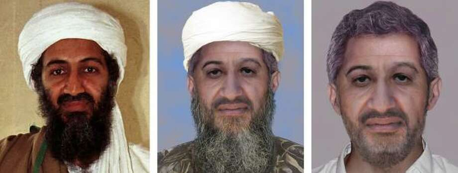 A composite image shows Osama bin-Laden in April 1998, left, and two digitally enhanced and aged images released Thursday, Jan. 14, 2010 on the U.S. Department of State's web site rewardsforjustice.net showing what bin-Laden could look like with a full beard and with his hair trimmed. Photo: AP
