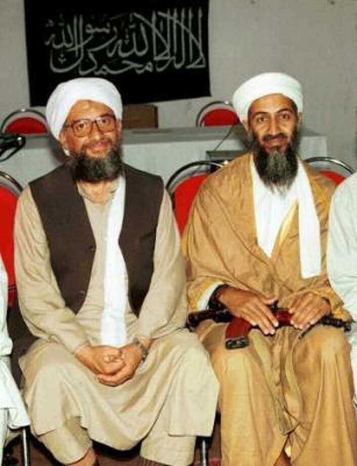 In this 1998 file photo, Ayman al-Zawahri, left, poses for a photograph with Osama bin Laden, right, taken in Khost, Afghanistan and made available Friday March 19, 2004. A person familiar with developments said Sunday, May 1, 2011 that bin Laden is dead and the U.S. has the body. Photo: AP