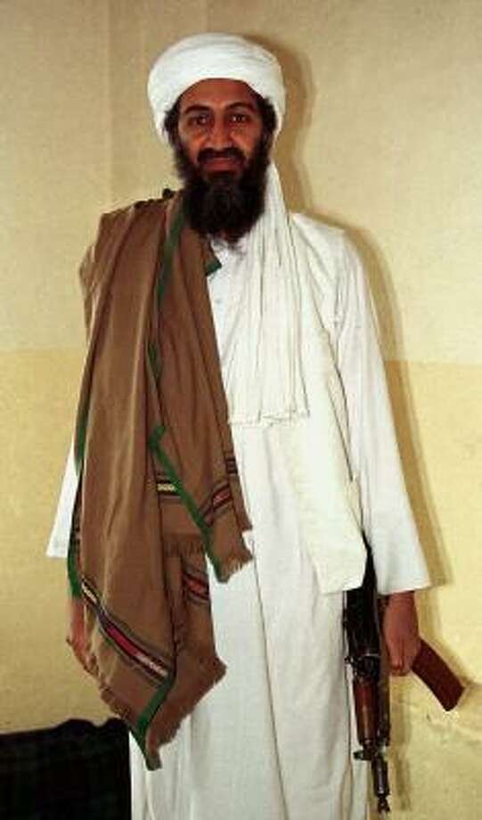 This April 1998 file photo shows Osama bin Laden in Afghanistan. In 2009, he announced that President Barack Obama inflamed hatred toward the U.S. by ordering Pakistan to crack down on militants in Swat Valley and block Islamic law in the area. Photo: Anonymous, AP