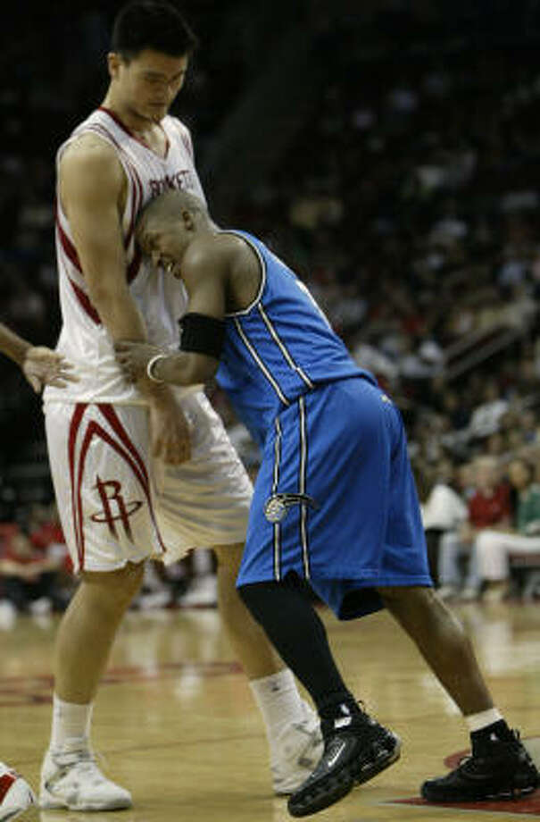 """Steve Francis / Rockets to Magic. Traded, returned Jan. 24, 2005.Stats: 23 points, 10 rebounds, seven turnovers, Rockets won 89-78.Reception: Very mixed, some cheers and some boos.Reaction: Called the Toyota Center """"the gym I built by myself."""" Photo: Kevin Fujii, Chronicle File"""