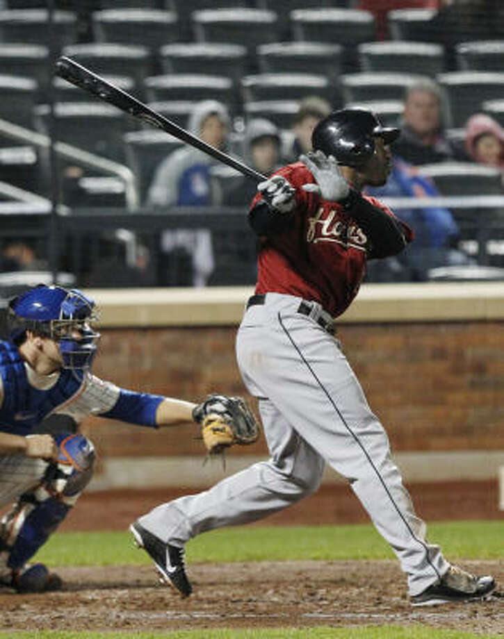 Michael Bourn singles during the eighth inning. Photo: Frank Franklin II, AP