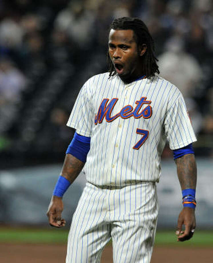 New York's Jose Reyes yells in frustration after making the final out of the third inning. Photo: Christopher Pasatieri, MCT