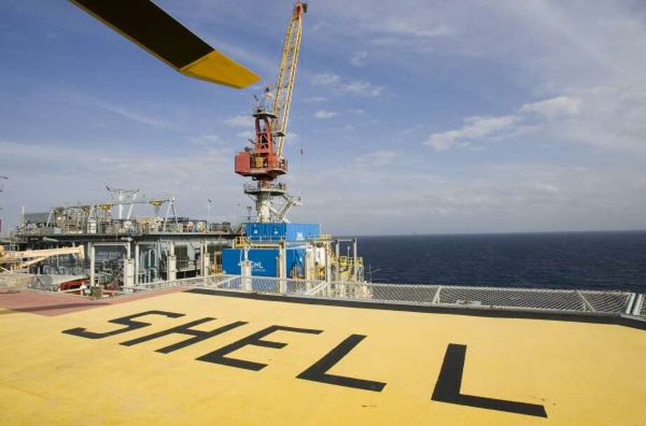 Shell Oil Co. is teaming with the National Oceanic and Atmospheric Administration to place sensors on offshore installations in the Gulf of Mexico, like the Mars Shell Platform, to gather real-time information about hurricanes. Photo: BRETT COOMER, CHRONICLE