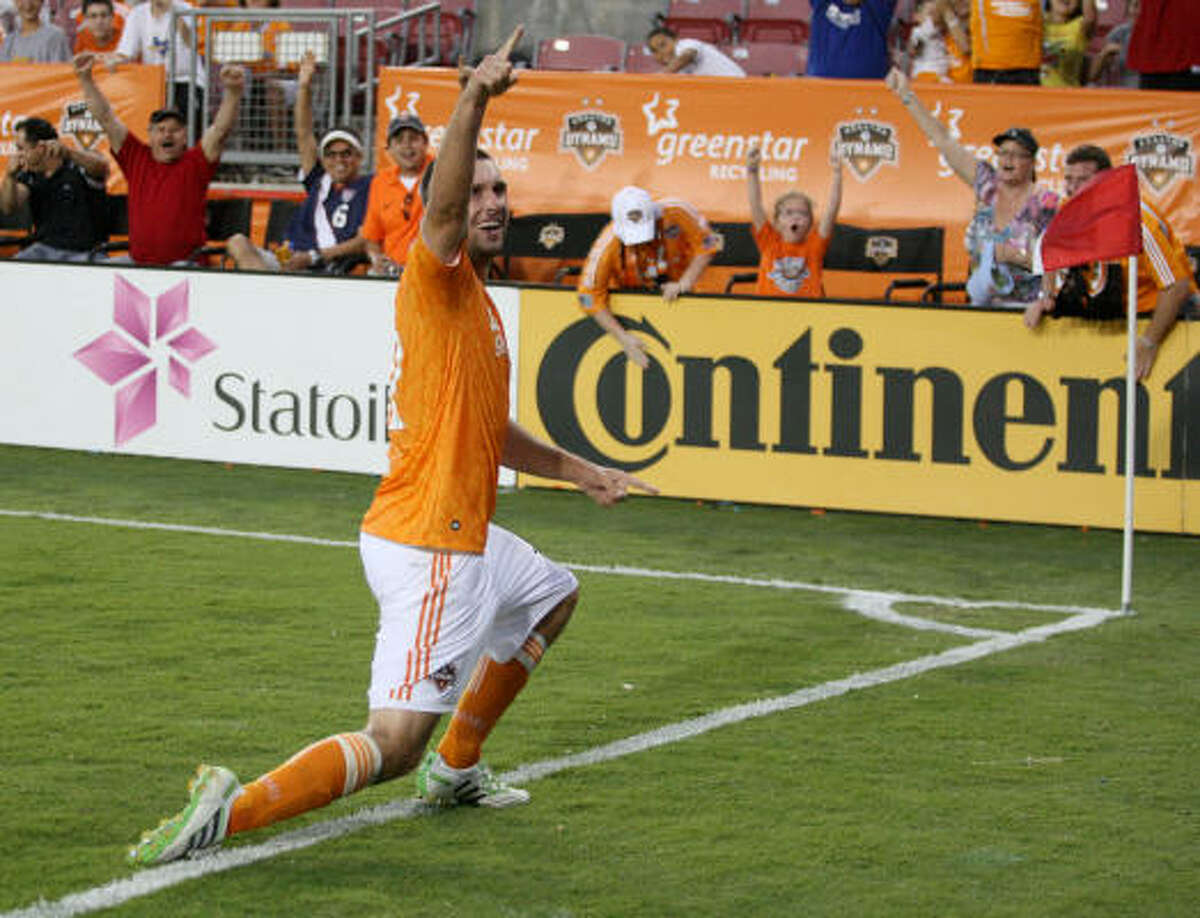 Will Bruin celebrates his first-ever MLS goal.