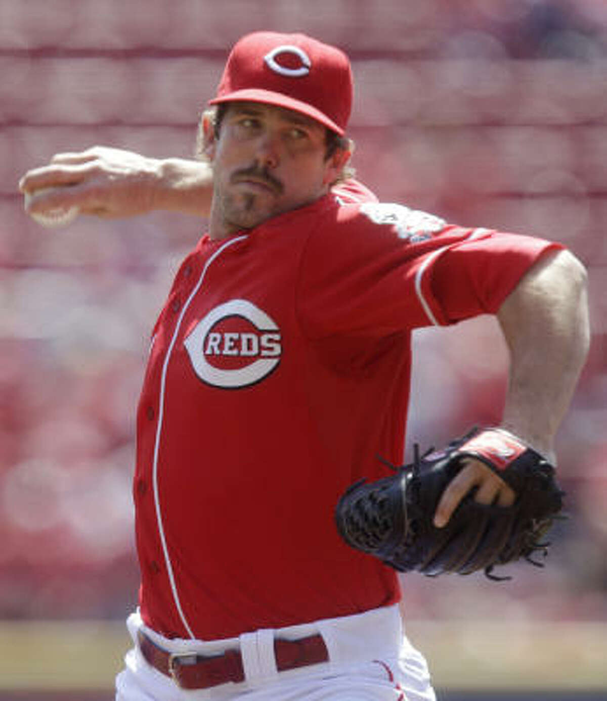 Cincinnati Reds starting pitcher Sam LeCure went five innings, giving up two runs and striking out six Astros.
