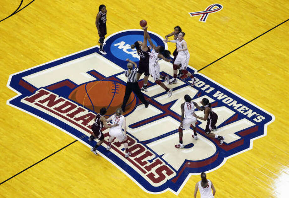 Texas A&M (32-5) seeks its first NCAA women's national championship tonight, when it faces Notre Dame (31-7) in Conseco Fieldhouse in Indianapolis. The game is at 7:30 p.m. on ESPN. We give five reasons why the Aggies will make history tonight: Photo: Michael Conroy, AP