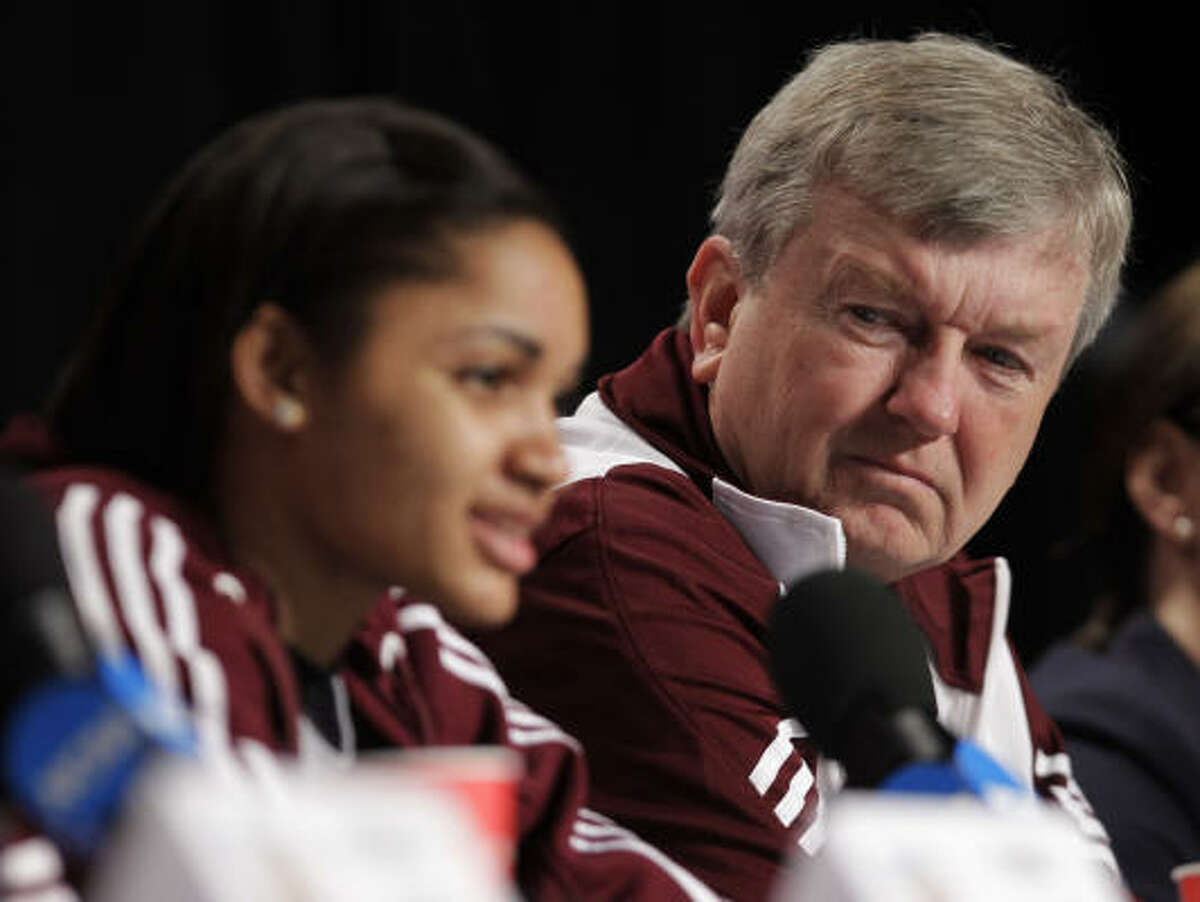 1. It seems destined The Aggies were facing elimination, down 10 points with six minutes left to go against heavily favored Stanford in the national semifinals. But the Aggies (Sydney Carter and coach Gary Blair pictured) extended their historic season after outscoring the Cardinal 19-8 in the final 5:07. A&M was virtually flawless down the stretch - going 6-of-8 from the field, 6-of-6 from the free-throw line and not turning the ball over. Also, as a matter of fate, Texas A&M graduate Kelly Kraskopf is the general manager for the WNBA's Indiana Fever, which play in Conseco Fieldhouse.