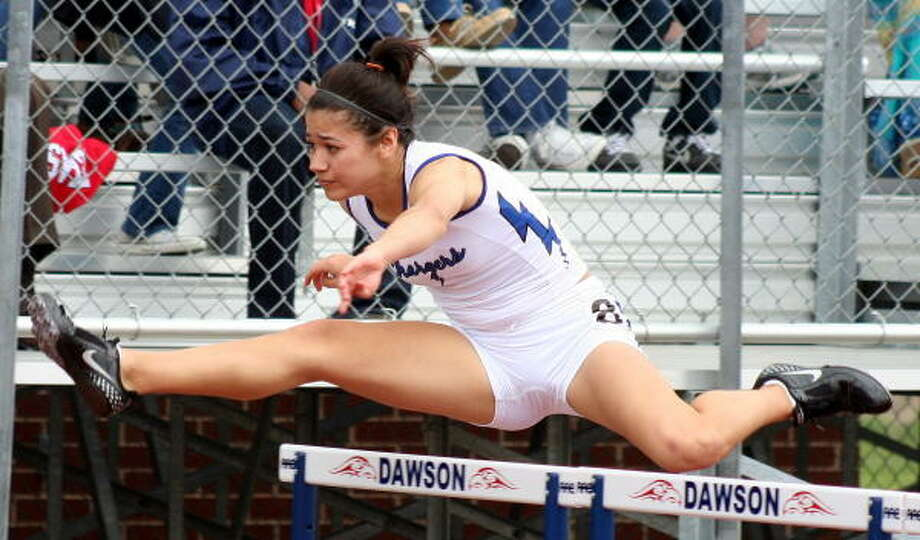 Clear Creek's Taylor Maldonado competed in the 100-meter hurdles. Photo: Gerald James, For The Chronicle