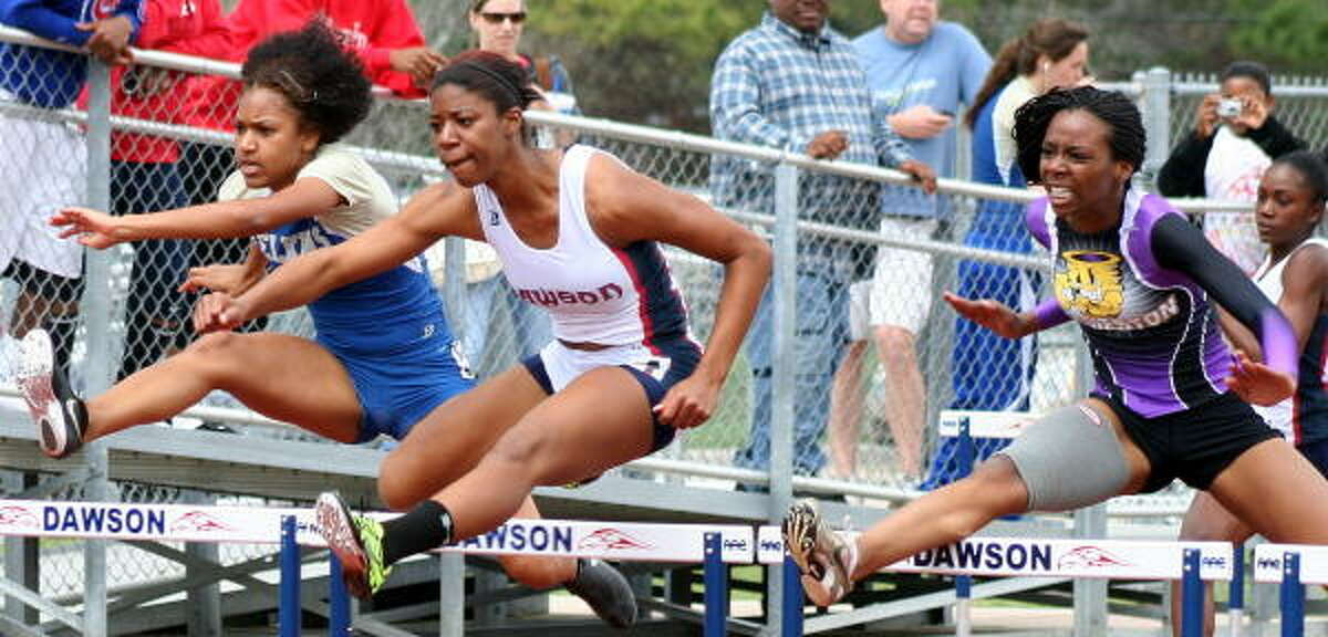 It's a battle in the 100-meter hurdles.