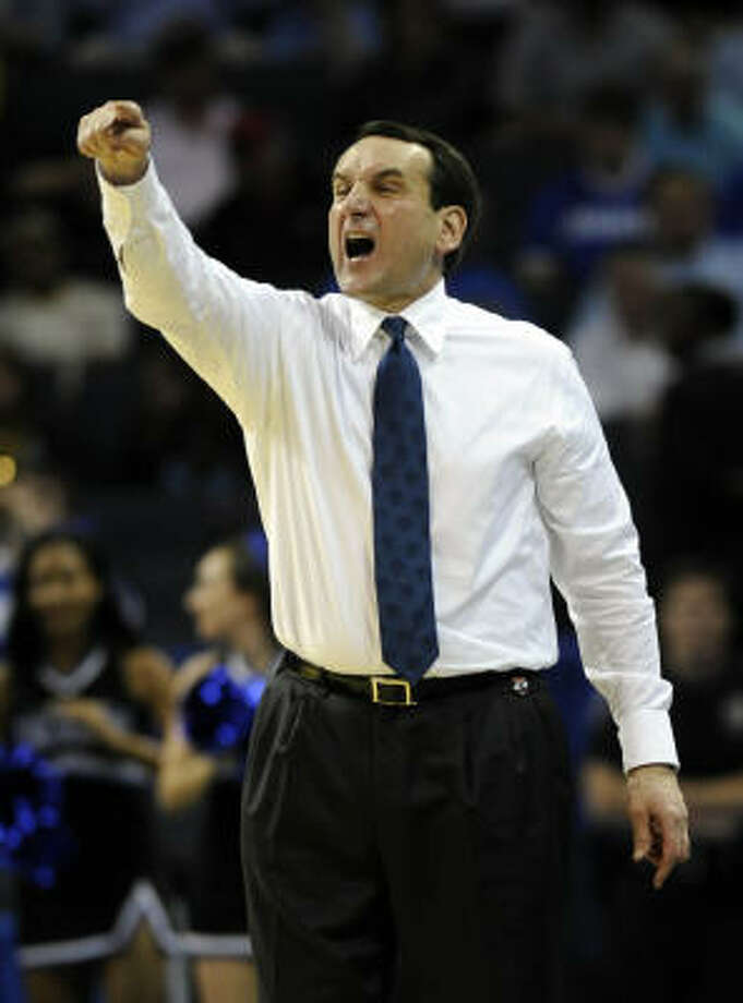 10. Think coaching matters? Duke's Mike Krzyzewski (four, pictured), Florida's Billy Donovan (two), UConn's Jim Calhoun (two), North Carolina's Roy Williams (two), SDSU's Steve Fisher (one) and Kansas' Bill Self (one) have all won national titles. Kentucky's John Calipari and Ohio State's Thad Matta have coached in national championships, which means half of the coaching field has experience on the sideline in the final game. Photo: David T. Foster III, MCT