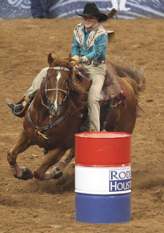 Robin Montague competes in the Barrel Racing event during the Houston Livestock Show and Rodeo at Reliant Stadium Saturday, March 5, 2011, in Houston. Photo: James Nielsen, Houston Chronicle