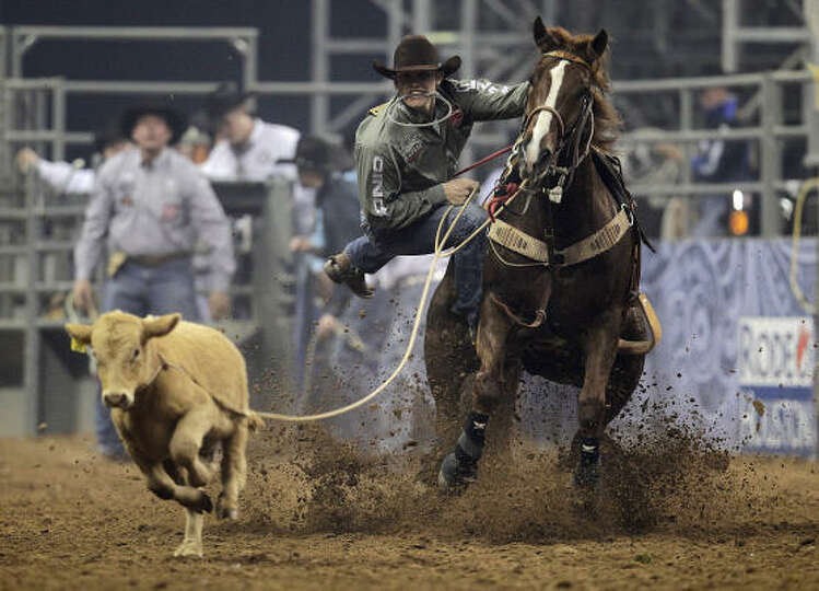 River Oaks Dodge >> Tuf Cooper ropes a calf for a score of 8.8 during the tie ...