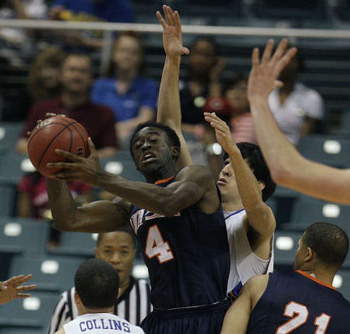 Texas-San Antonio's Sei Paye pulls in a rebound against McNeese State in the first half of the championship game of The Southland Conference Tournament at Katy ISD's Merrell Center Saturday, March 12, 2011, in Katy.