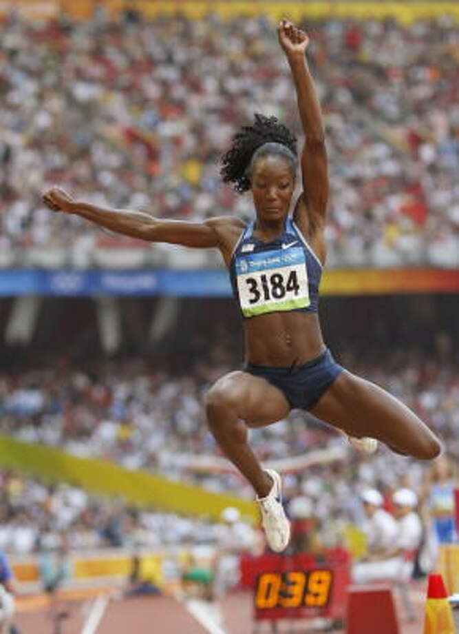 U.S. long jumper Funmi Jimoh, who ran track at Rice, advanced to the final in her first Olympic appearance. Photo: ADRIAN DENNIS, AFP/Getty Images