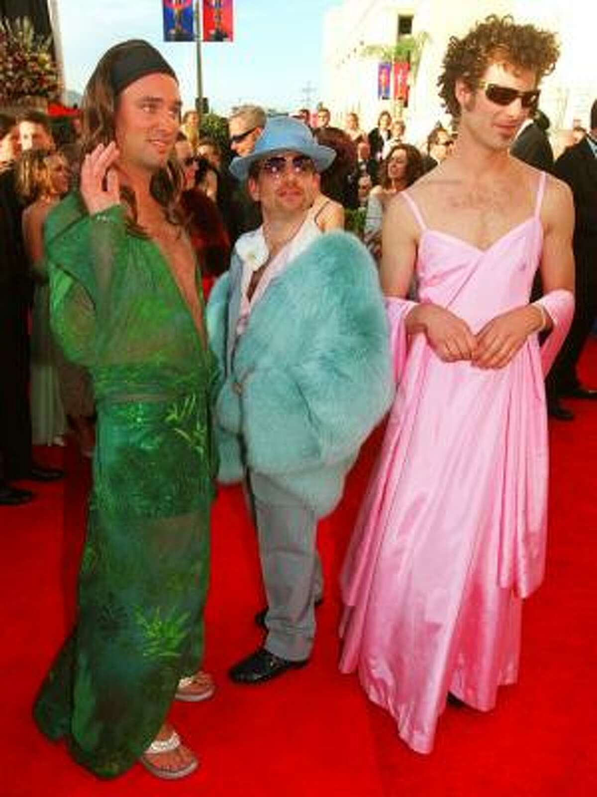 Highly entertaining: Fashion was on the minds of the South Park: Bigger, Longer and Uncut gang - Trey Parker, left (in a Jennifer Lopez-style dress), Marc Shaiman (in blue fur) and Matt Stone, right (in Gwyneth Paltrow pink) -- in 2000. For most celebrities, however, the best dressed stars are the ones who are true to their own sense of style.