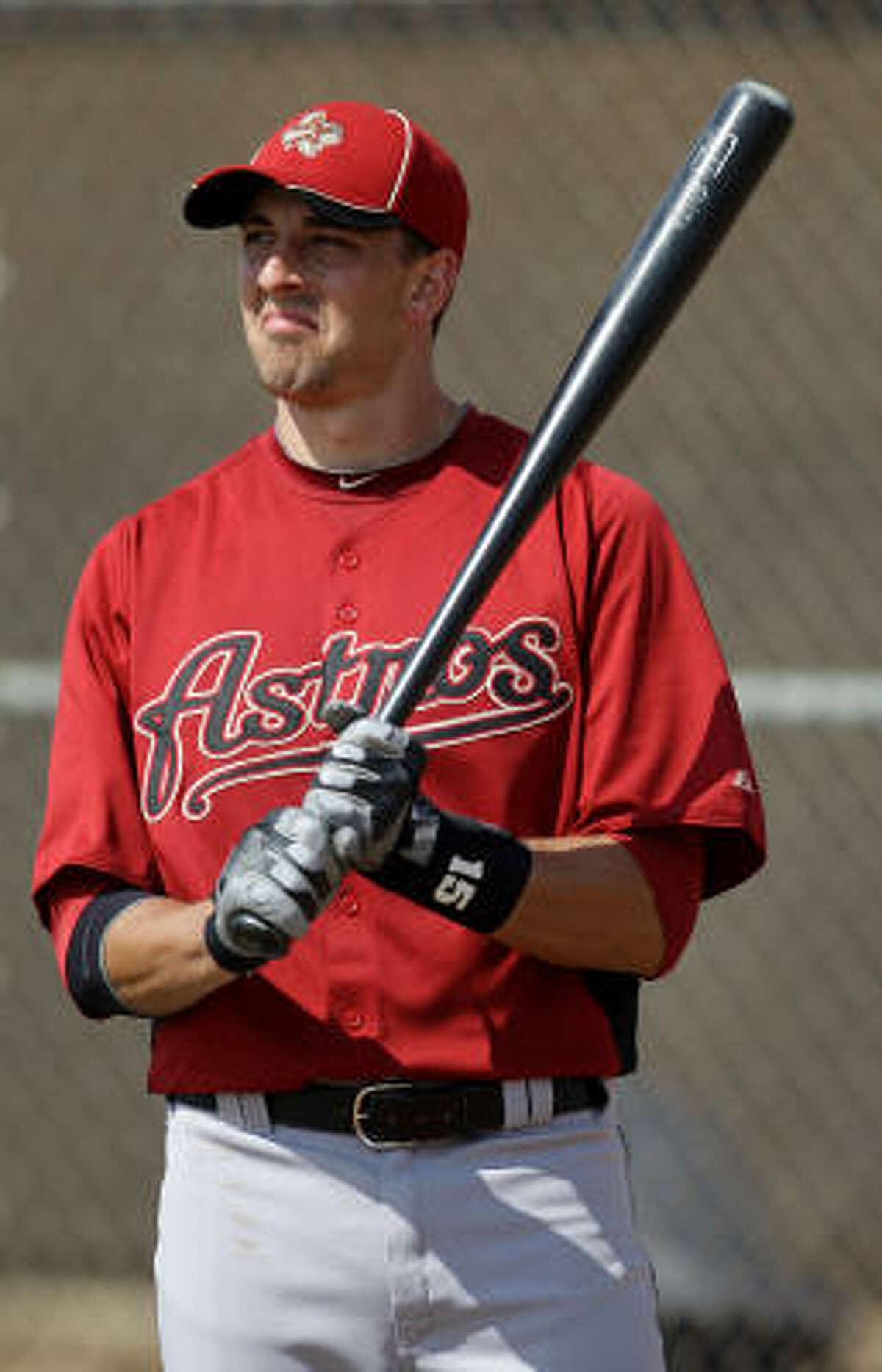 Astros catcher Jason Castro takes batting practice.