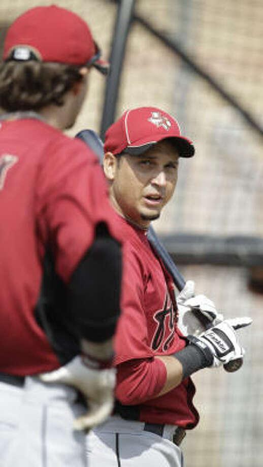 Astros infielder Oswaldo Navarro at the batting cage. Photo: Karen Warren, Chronicle