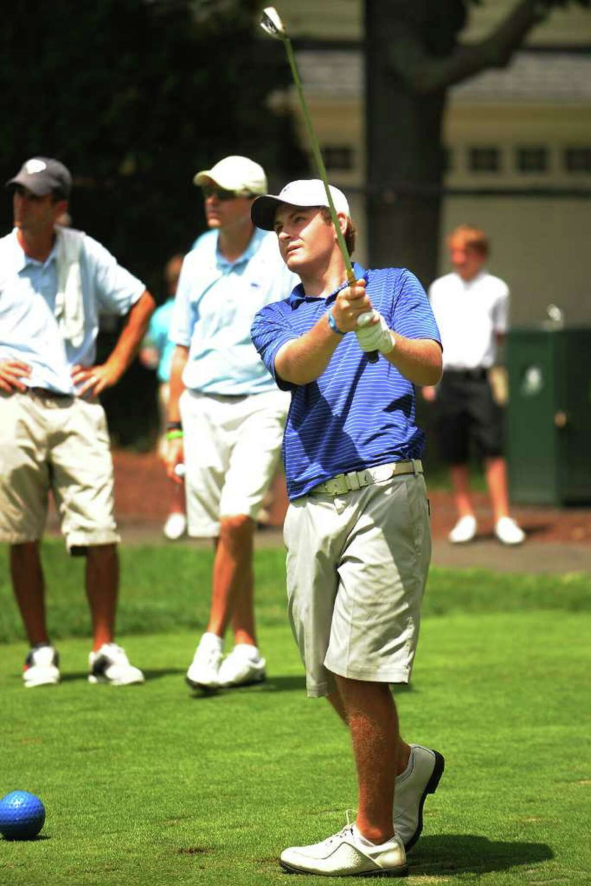Brian Murphy of Brooklawn Country Club watches his tee shot on the par three 10th during the third round of the Connecticut Open golf tournament at Brooklawn Country Club in Fairfield on Wednesday, July 27, 2011.