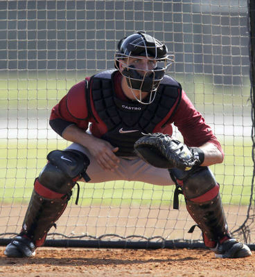 Catcher Jason Castro waits to receive a pitch. Photo: Karen Warren, Chronicle