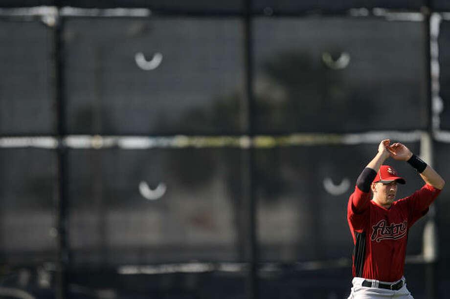 Astros catcher Jason Castro stretches before workouts. Photo: Karen Warren, Chronicle