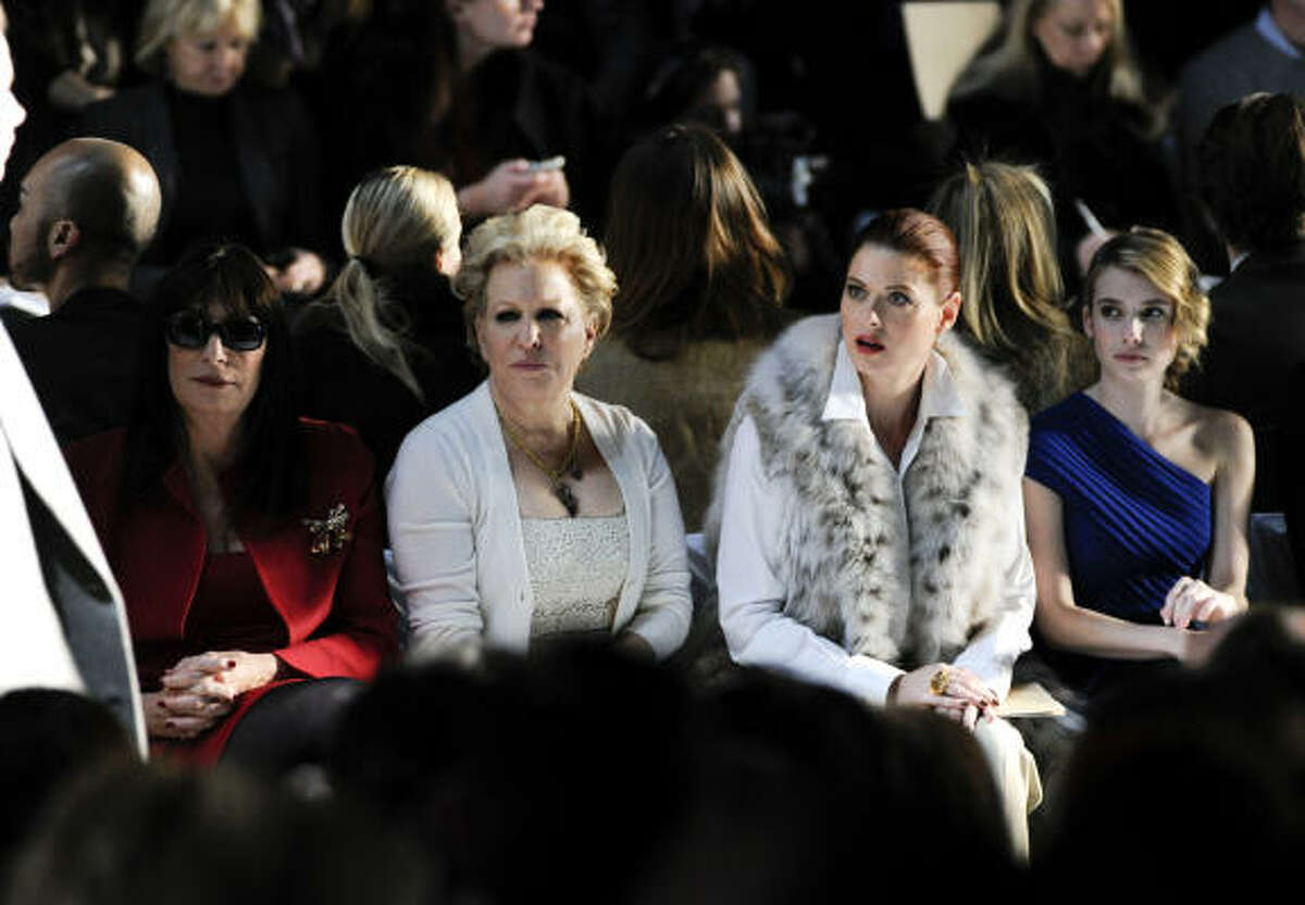 Hollywood fashionistas Anjelica Huston, Bette Midler, Debra Messing and Emma Roberts sat front row at the show.