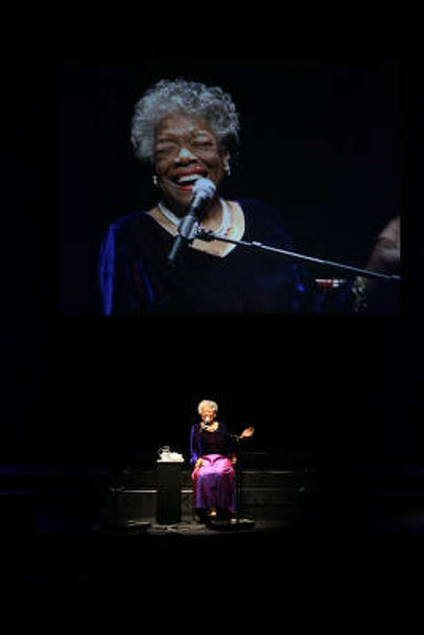 Poet Maya Angelou was in Houston last month to deliver a lecture at the Hobby Center for the Performing Arts. Photo: MAYRA BELTRAN:, CHRONICLE