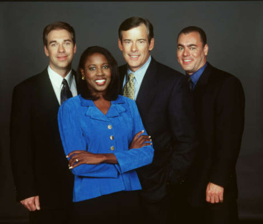 When Sherry Williams started at Channel 39, the news team was Keith Monahan, from left, Williams, Alan Hemberger and Jorge Vargas. Photo: Channel 39