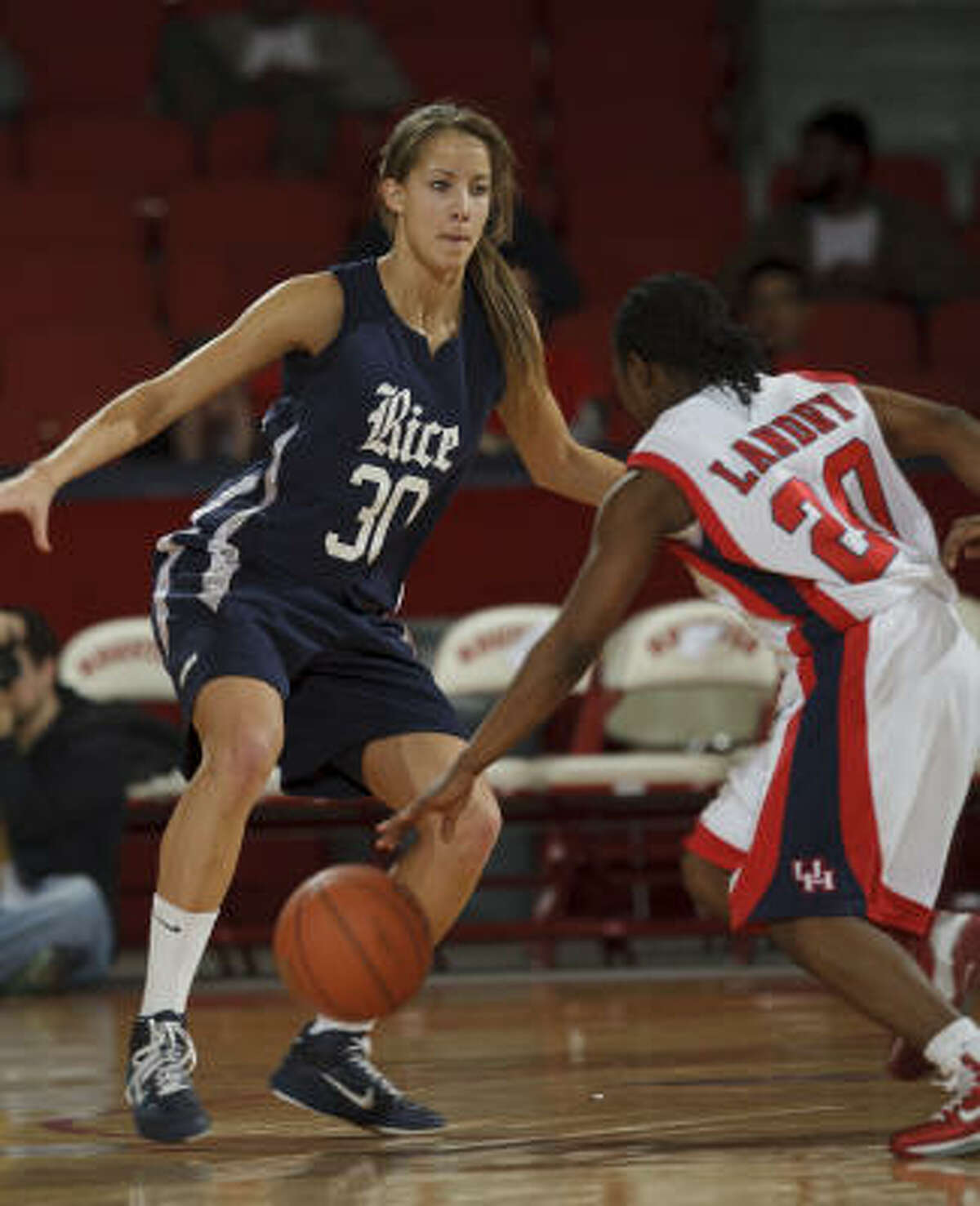 Rice's Jessica Kuster, left, steps out to defend UH's Porsche Landry during the second half. Landry scored a game-high 22 points.