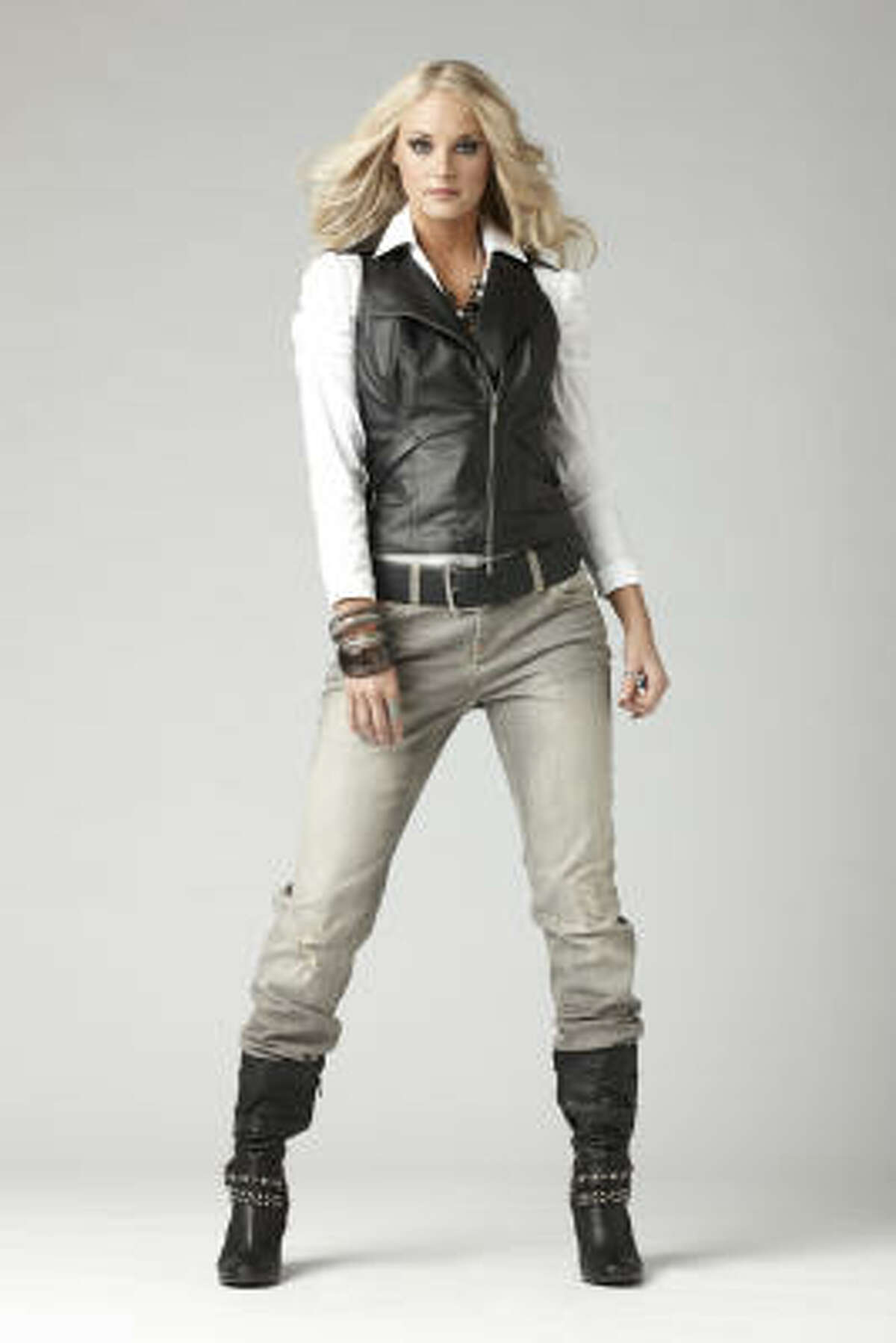 You can get this look from JCPenney. cutline: Bisou Bisou motorcycle vest, $49.99; Woven blouse, $24.99; and grey denim, $19.99. At JCPenney stores and www.jcp.com
